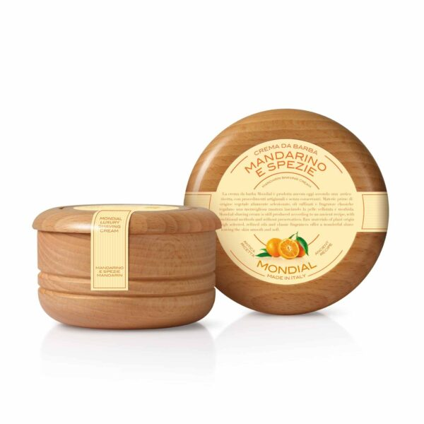 Mondial Classic Luxury Shaving Cream Mandarino e Spezie Wooden Bowl